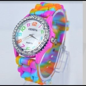 New Geneva Rainbow Colored Silicone Jelly watch